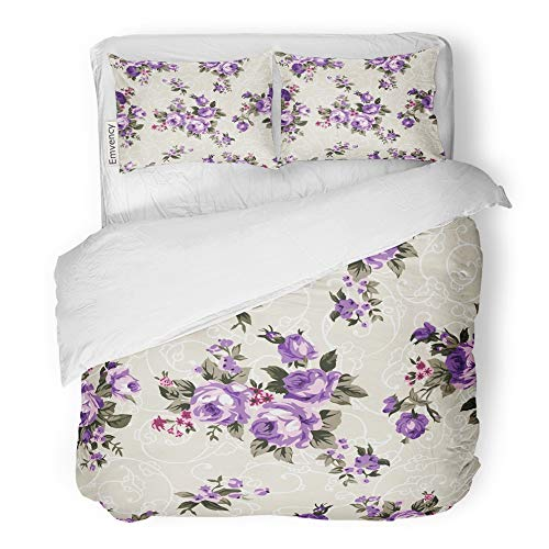 Emvency 3 Piece Duvet Cover Set Brushed Microfiber Fabric Breathable Shabby Chic Granny Vintage Chintz Roses in Seamlessly Pattern Raster Bedding Set with 2 Pillow Covers Full/Queen Size