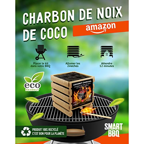 Smart BBQ - Carbón de coco para barbacoa 100% natural