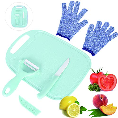 LLGLEU 4 Pieces Kids Cooking Supplies Knife Set and Cutting Board with Cut Resistant Gloves (Ages 6-12) Kids Safe Knife for Fruit, Bread, Cake, Lettuce, Salad (Blue)