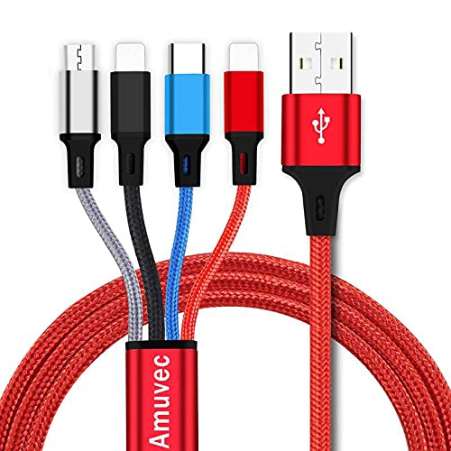 Amuvec Multi USB Kabel: 4 in 1 Schnell Universal Nylon Mehrfach Ladekabel mit Micro USB Typ C 2 iP USB Ladegerät Anschlüsse für Verschiedene SmartPhones Tablets - 1.2M