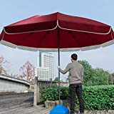 FACAI Dalle Parasol Pied Parasol Parasol Rond Inclinable Parasol Droit Inclinable Parasol Balcon avec Pied Inclinable Chaise Longue Inclinable Toile De Rechange pour Parasol,Red-3.4m