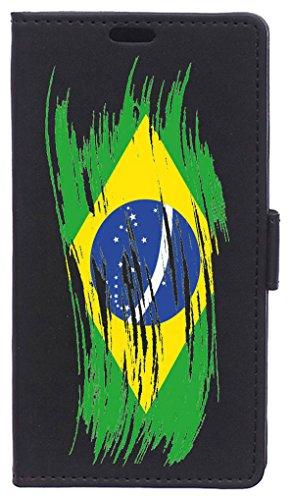 Becool FOL-MO050 beschermhoes voor Motorola Moto C Plus, Geschilderde vlag Brazilië, 50 hojas
