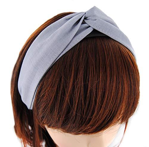 axy Breiter Design Haarreif aus zweilagig Chambray Stoff, Haarband Vintage Hairband Stirnband Haarreifen HRD1 (Hellgrau)