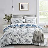 JUCFHY Cotton Duvet Cover King Size (104x90 inches),Vintage Floral 3 Pieces Reversible King Duvet Cover with Zipper Closure and 2 Pillow Shams(King, Kaylee