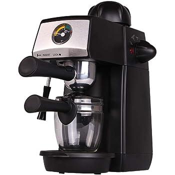 Grunkel - CAFPRESO-H5 Bar - Cafetera Espresso con barómetro y presión de 5 Bares para 4 Tazas (240 ml). Incluye Jarra de Cristal y Sistema espumador - 870W - Negro y Acero Inoxidable: Amazon.es: Hogar