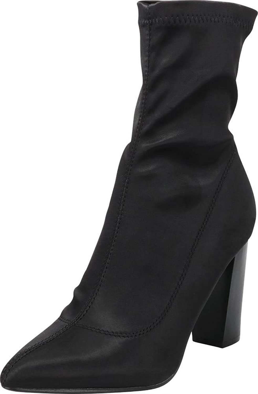 Cambridge Select Women's Closed Pointed Toe Soft Stretch Sock Style Slip-On Chunky Block Heel Ankle Bootie