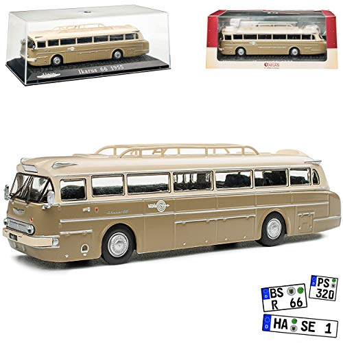 Ikarus 66 Bus Grün Beige 1955-1973 mit Sockel und Vitrine 1/72 Atlas Modell Auto