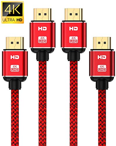 4K HDMI Cable 6.6ft-2Pack,Capshi High Speed 18Gbps HDMI 2.0 Cable supports (4K@60HZ, 2160P, 1080P,...