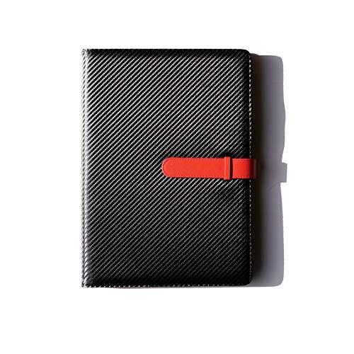 (JOIN・K) バインダー クリップボード a4 二つ折り カーボンレザー 書類ケース 持ち運び (ブラック×レッド)