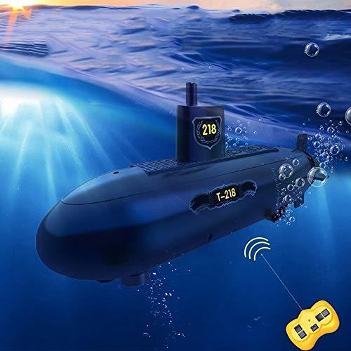 ELVVT RC Submarino Mini Bricolaje 6 Canales de Radio Control Remoto Bajo el Agua Barco Impermeable Modelo de Barco de Juguete de Navidad Regalo de cumpleaños for niños