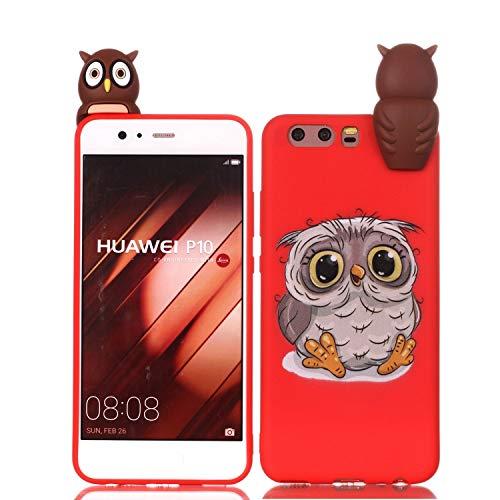 LAXIN Cute owl Case for Huawei P10,Soft 3D Silicone Case,Cute Fruit Rubber Cover,Cool Kawaii Cartoon Gel Cover for Kids Girls Boys Men Woman Fun Soft Silicone Shell