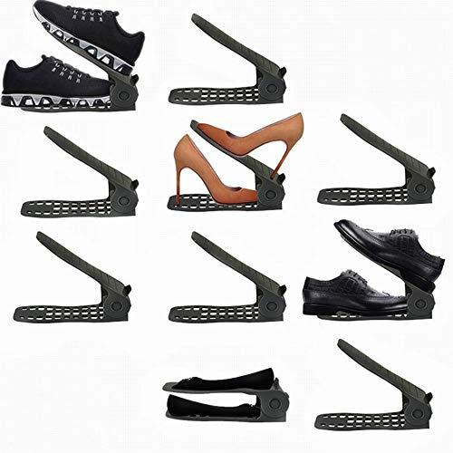 LITTHING 靴ホルダー 省スペース 靴スタンド10個入りシューズ収納高さ調整機能付き下駄箱安定 下駄箱省スペース滑りとめ (ブラック)
