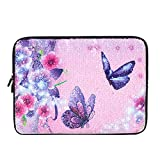 iCasso Glitter 13-13.3 inch Laptop Sleeve Case Bag, Protective Cover Compatible 13'' MacBook Air/MacBook Pro (Retina)/Ultrabook/Netbook, Sparkling Shiny Reversible Sequin Carrying Case - Butterfly