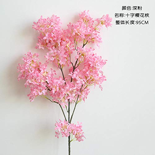 Künstliche Blume Simulation Kirschblütenzweig Kunstblume Seidenblume Plastikblume Hochzeit Dekoration Wohnzimmer Boden Blumenarrangement Schießen Stütze Dekoration-3 Gabeln Kirschrosa