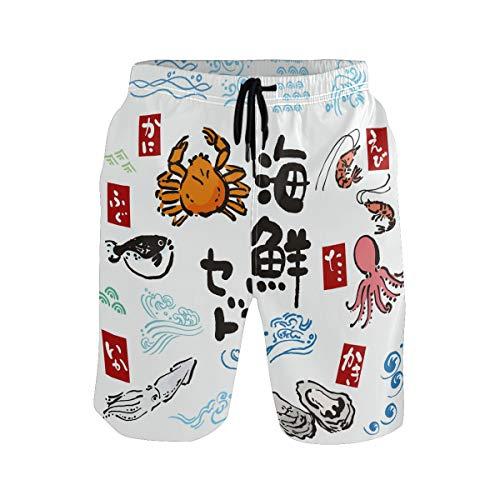 BONIPE Herren Badehose Japan Meeresfrüchte Krabbe Octopus Fisch Hummer, Quick Dry Boardshorts mit Kordelzug und Taschen Gr. XL, mehrfarbig