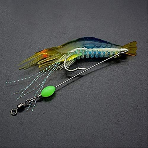 HONG YU 1pc/lot Simulation Shrimp Soft Lure 8cm/5g Fishing Lure Artificial Bait with Glow Hook Swivels Luminous Pesca Sabiki Rigs (Color : 03)