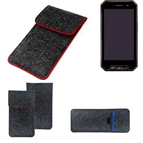 K-S-Trade Handy Schutz Hülle Für Cyrus CS 27 Schutzhülle Handyhülle Filztasche Pouch Tasche Hülle Sleeve Filzhülle Dunkelgrau Roter Rand