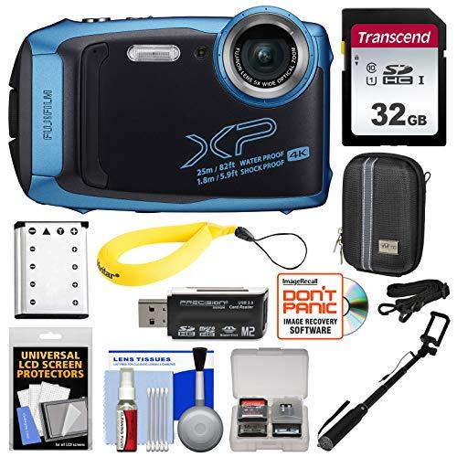 Fujifilm FinePix XP140 Shock & Waterproof Wi-Fi Digital Camera (Sky Blue) with 32GB + Battery + Case + Selfie Stick + Kit
