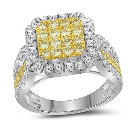 14k White Gold Round Canary Yellow Diamond Square Ring 1.75 Ct.