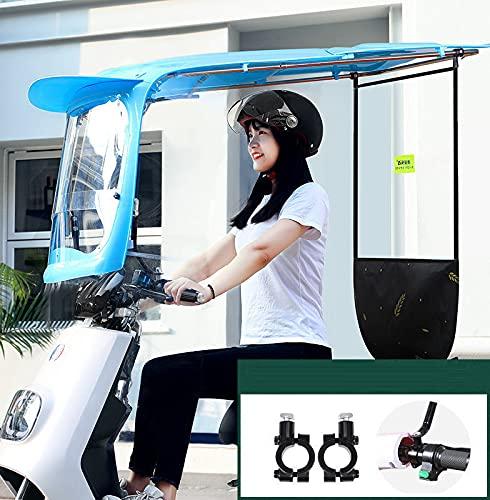 JXH Motocicleta Electric Car Windshield Cover Twing Sunshade Electric Battery Car Sops, Paraguas Reforzado con Protector Solar,Azul