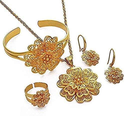 LBBYMX Co.,ltd Collar de Moda África Color Dorado Conjunto de Joyas de Flores Dubai Colgante Collar Pendientes Pulsera Anillo Conjunto de Novia árabe Regalo etíope