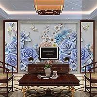 壁画壁紙3Dエンボスバタフライフラワーヨーロピアンスタイルモダンリビングルームテレビ背景壁の装飾絵画-150x120cm