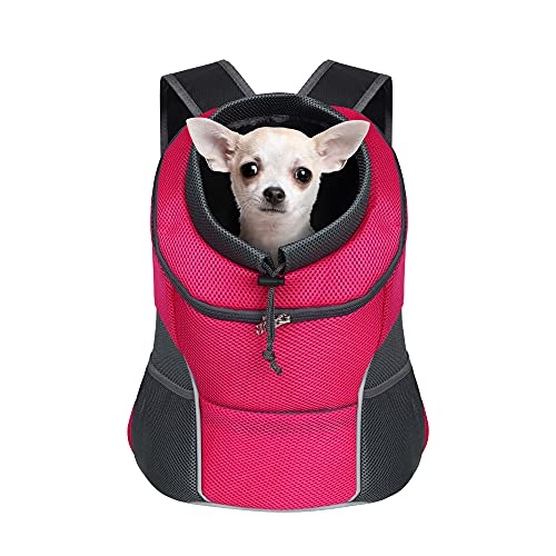 YUDODO Dog Carrier Backpack Pet Dog Carrier Front Pack Breathable Head Out Reflective Safe Doggie Carrier Backpack for Small Dogs Cats Rabbits(M(5-10lbs), Pink)