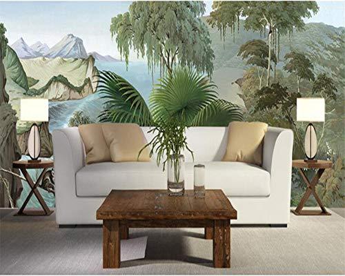 Fotobehang Europees handgeschilderd retro regenwoud schlucht-bananenaap muurschildering achtergrond behang voor muren 3 D Wgop 120 cm x 100 cm.