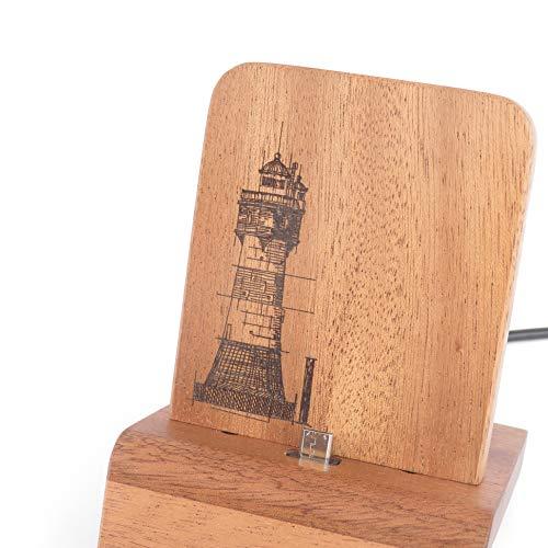 Designer Smartphone Dock (Edition Leuchtturm) für iPhones und Android (z.b. Samsung) mit und ohne Schutzhülle - Mahagoni massiv