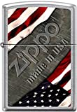 Zippo American Flag with Steel Background Made in USA Street Chrome Lighter New