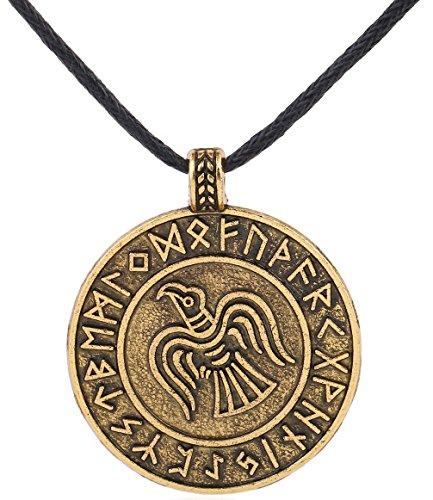 Collana con ciondolo a forma di amuleto con rune vichinghe, adatto per uomo/donna e base metal, colore: Oro anticato., cod. YY-A128528