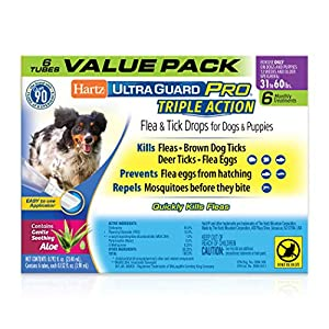 Hartz UltraGuard Pro Topical Flea & Tick Prevention for Dogs and Puppies, 31-60 lbs 6 Monthly Treatments