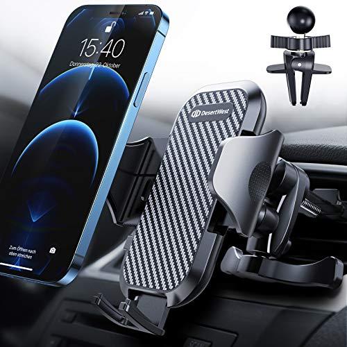 DesertWest Handyhalterung Auto Handyhalter fürs Auto Lüftung Upgrade mit 2 Lüftungsclips Smartphone kfz Halterung 360° Drehbar Handyhalterung für iPhone SE 11 11Pro Samsung S20 S10 Huawei Xiaomi usw.