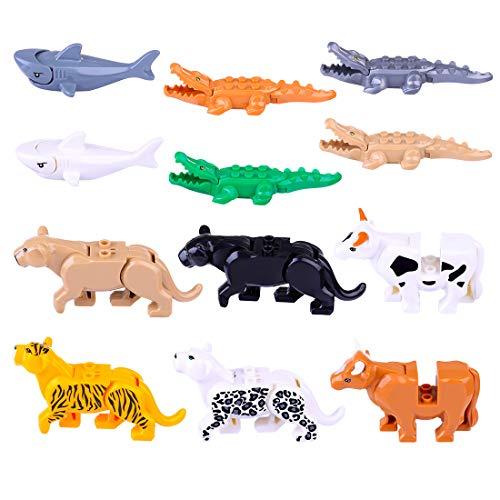 OviTop 12Stück Bausteine Tiere Figuren Set: 4 Krokodil, 4 Leopard, 2 Kuh, 2 Haien