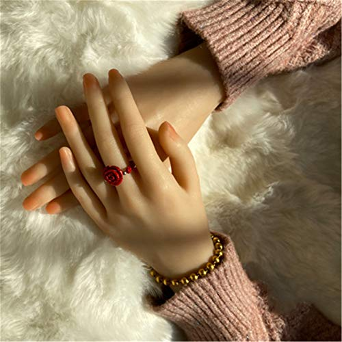 AFYH Silikon-Handmodell, weiche Hände Gefälschte Hände Ultra-reales TPE-Flüssigsilikonharz, realistische Textur und 3D-Touch mit Knochen, biegbaren Fingern und Handgelenken,C Both Hands
