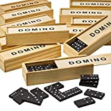 Kicko Mini Wooden Dominoes Set - 12 Pack - Miniature Classic Board Games - Small Blocks, Educational Toys, Game Tiles, Leisure Time, for Teens and Adults