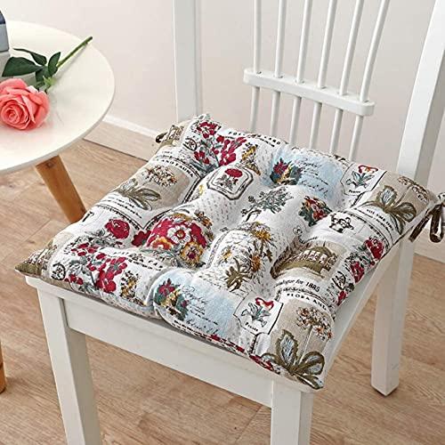 ksamwjf Cojines Cuadrados para Asientos de sillas con Lazos, Cojines Decorativos Antideslizantes de Lino de algodón para el Respaldo de la Silla para el jardín, el hogar, la Oficina, el Coche