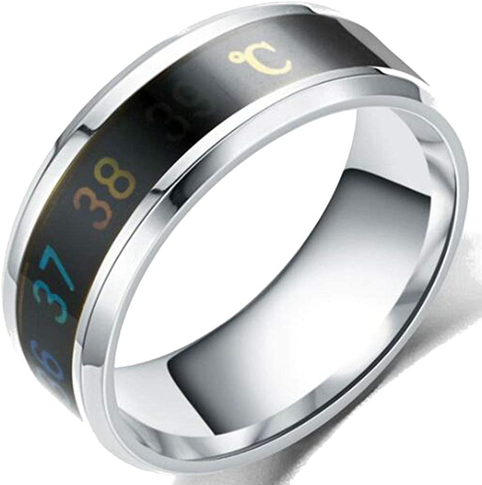Jude Jewelers 8mm Stainless Steel Body Temperature Sensative Mool Wedding Band Ring