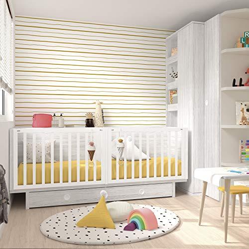 Babybett, umwandelbar, für Zwillinge, 86,7 x 203,8 x 100 cm, Bio/Erde