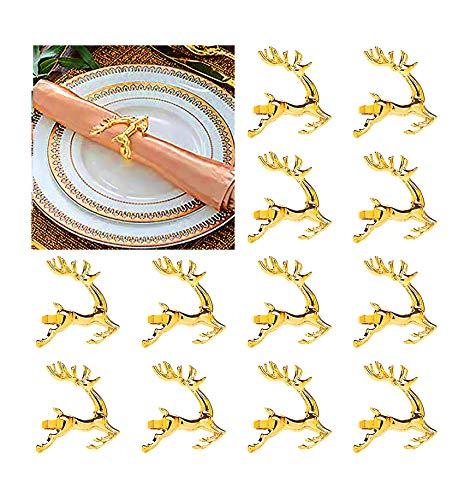 Angels' Hirsch Serviettenringe von 12 Stück, Goldenes Serviettenringe für Dinner Party Urlaub Hochzeit Thanksgiving Weihnachten Neujahr