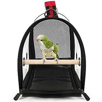 MLZYKYJZ Cage de Transport d'oiseau légère, Sac à Main de Transport de Voyage Respirant avec Perche pour Perroquet d'oiseau et Petit Animal de Compagnie, PVC Transparent 41 * 28 * 23 cm (Noir)