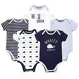 Hudson Baby Unisex Cotton Bodysuits, WHALEY HANDSOME, 3-6 Months