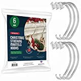Christmas Stocking Holders For Mantle - [Set of 6] Stocking Hangers For Mantel - Safety Grip Stocking Hangers For Fireplace, Mantle Stocking Hooks - Safety-Grip - Made in the USA - No Tools Required