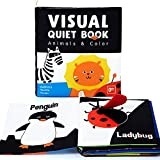 beiens Soft Baby Books, High Contrast Black and White Books NonToxic Fabric Touch and Feel Crinkle Cloth Books Early Educational Stimulation Toys for Infants Toddlers, Baby Girl & Baby Boy Gift Animal
