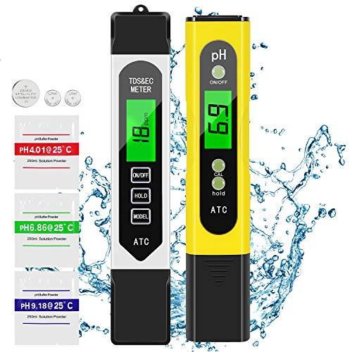 AIMTOP PH Mètre, Testeur PH, TDS&EC Mètre Température, 4 en 1 Testeur de qualité de l'eau avec Écran LCD, ATC, Auto-Calibration, pour l'eau...
