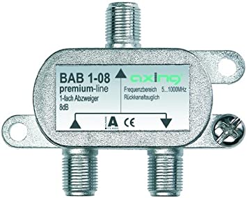 Axing BAB 1-08 - Derivador Acoplador direccional de señal TV 8 dB con Conector de F para TDT Radio televisión por Cable 5-1006 MHz