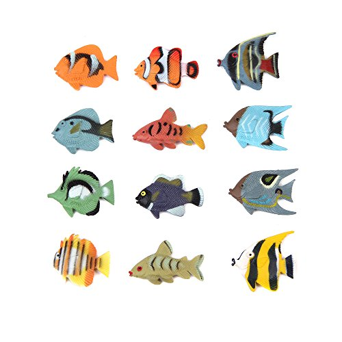 in budget affordable Fun Central 24 Pieces-Tropical Fish Mini Favors, Fish Figures for Kids-Various Styles