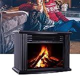 Chimenea eléctrica - Chimenea empotrada con calefacción, iluminación LED, efecto de llama 3D y mando a distancia - negro