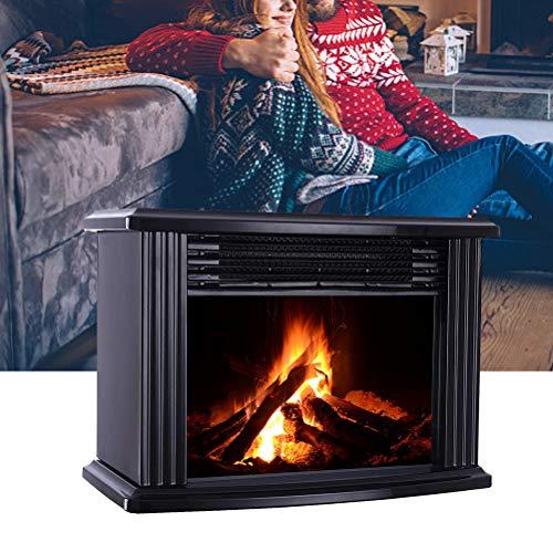 Macabolo Elektrische Kaminheizung, Realistischer Log Flame Effekt Mini Kamin Tabletop tragbare Heizung Raumheizung Raumheizung für Home Office