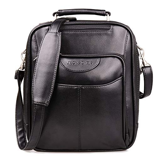 Jack&Chris Men's PU Leather Messenger Bag, Man Purse Crossbody Shoulder Bag for Work School Mens Bag